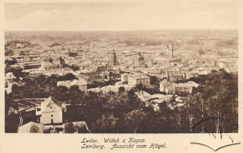 Панорама Львова з Кургана Люблінської унії (сьогодні Замкова гора), 1917 р.
